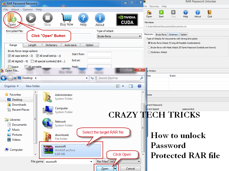 how to unlock rar password without any software