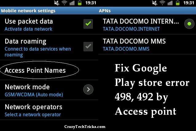 Fix Google Play store error 498, 492 by Access point