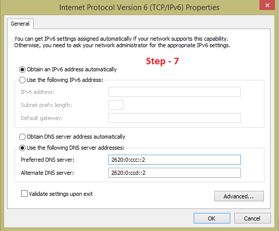 change internet protocol version 6 with open dns to increase the speed of your internet