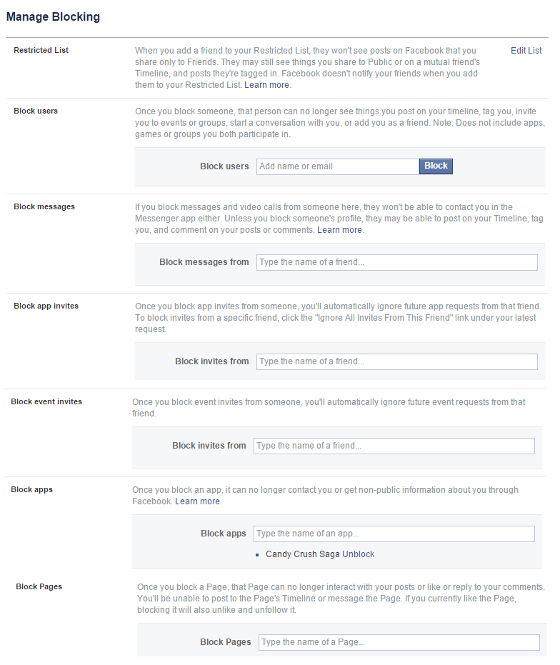 Block Candy Crush Request On Facebook - Block Facebook Profile, Page, Events, Friend and Messages