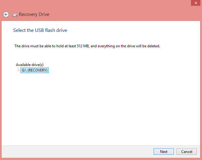 Create Recovery Drive in Windows 8, 8.1 and 10 using USB