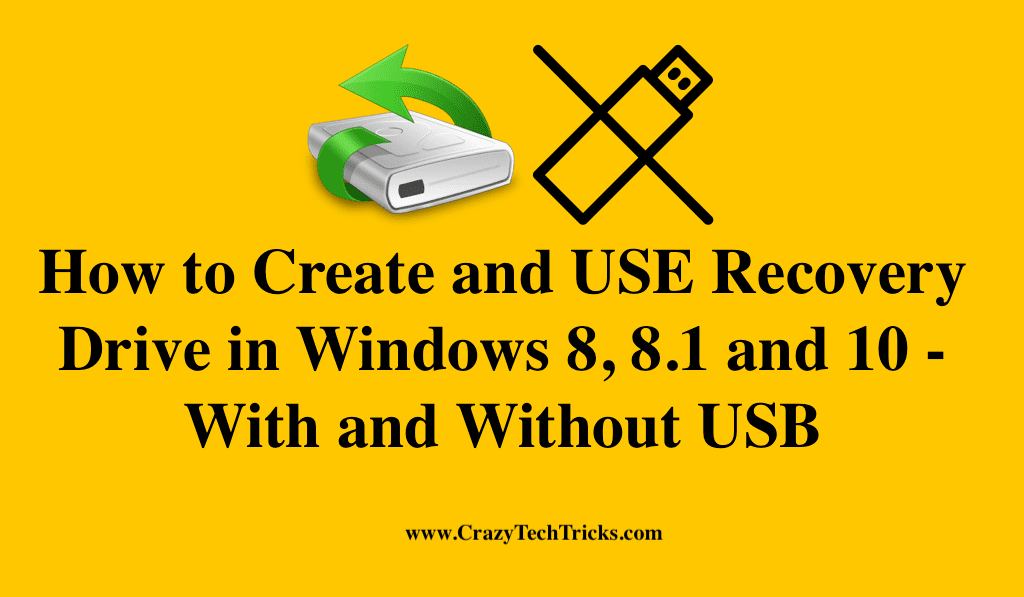Recovery Drive in Windows 8, 8.1 and 10