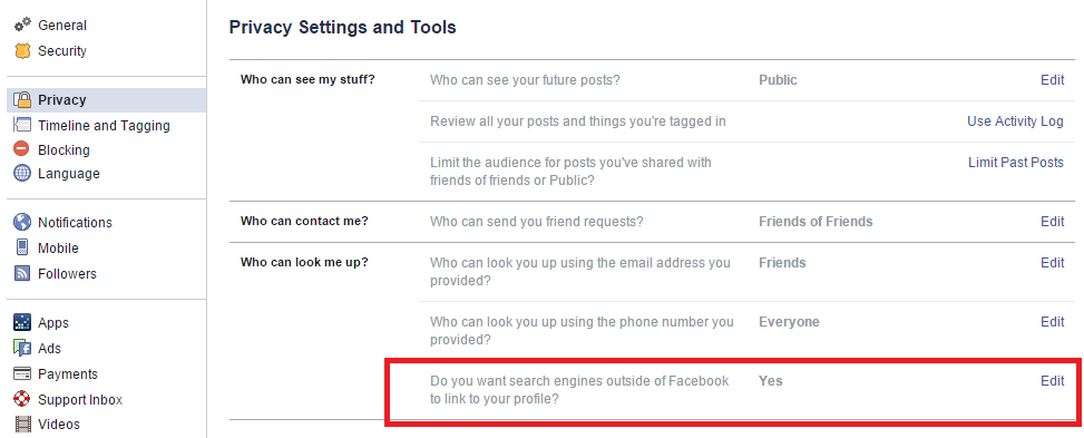 Secure your Facebook profile from appearing on Search Engines