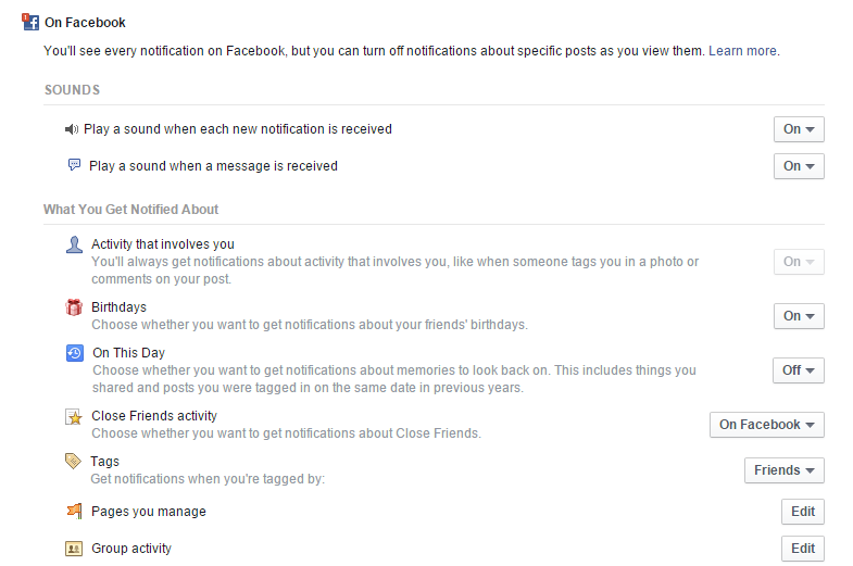 Turn Off Sound Notifications from Facebook on PC