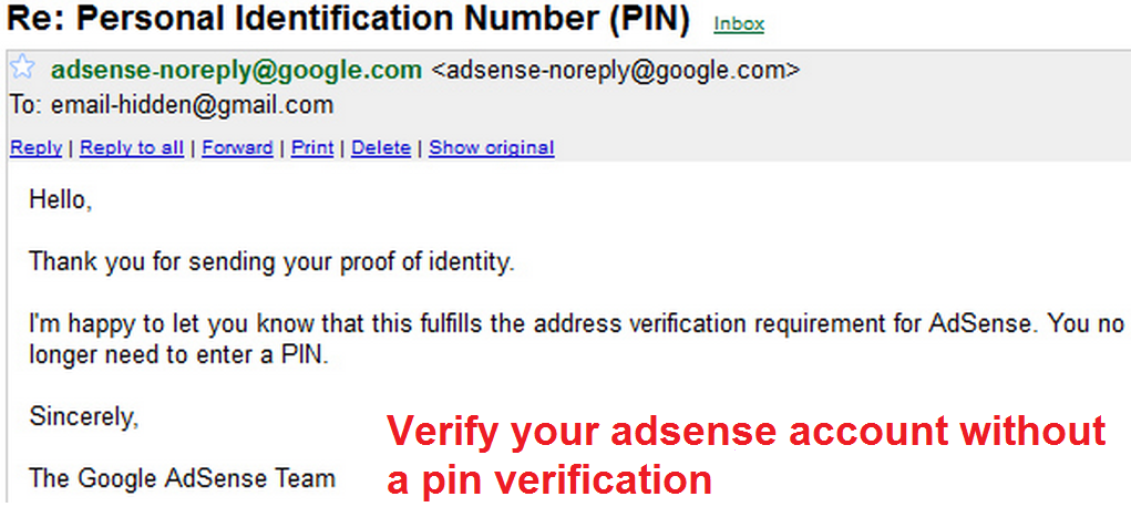 Verify your adsense account without a pin verification