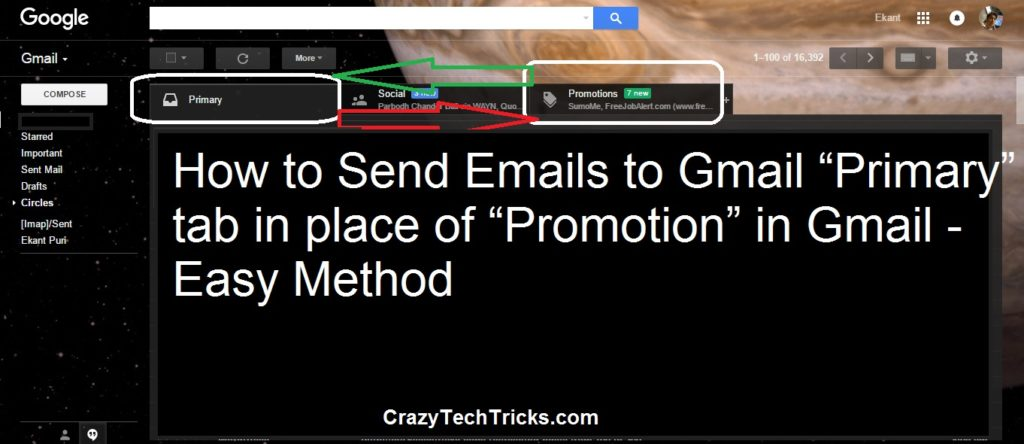 "How to Send Emails to Gmail ""Primary"" tab in place of ""Promotion"" or ""Social"" – Easy Method"