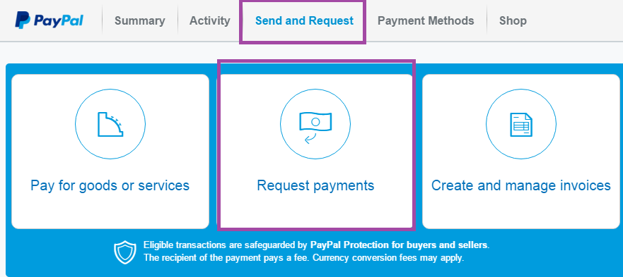 click on Request payments to transfer money from bank credit card to PayPal account