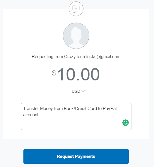 enter the amount you want to receive on your Paypal account - transfer money