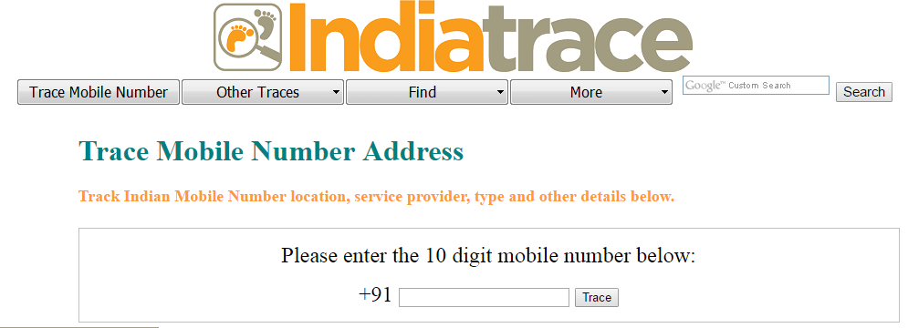 IndiaTrace to Track Mobile Number - Trace Mobile Number with Owner Name and Address