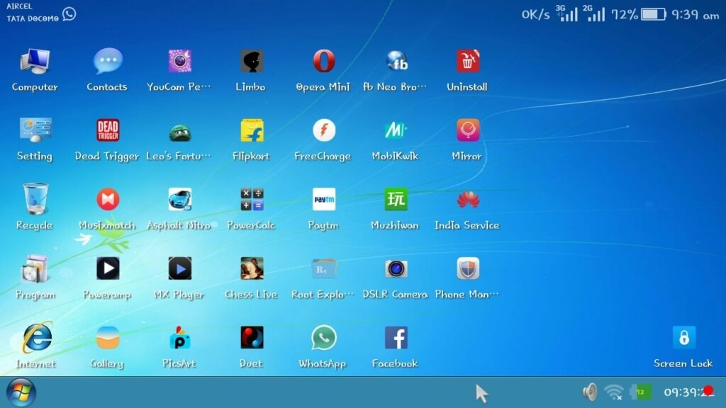 Windows 7 Ultimate go Launcher apk