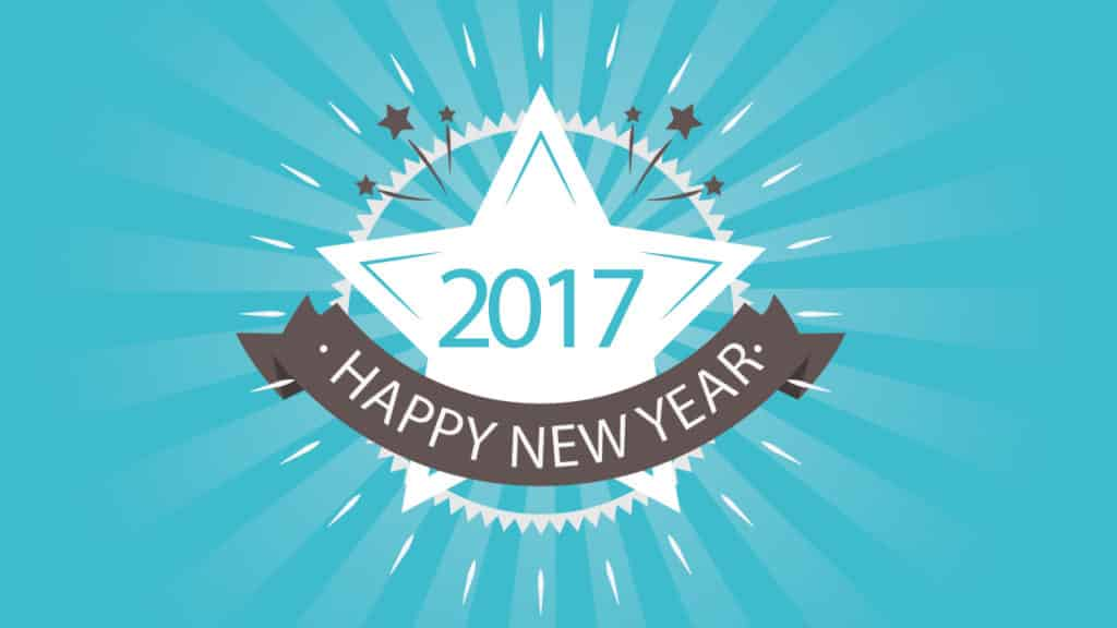Happy New Year 2017 best wishes with stars