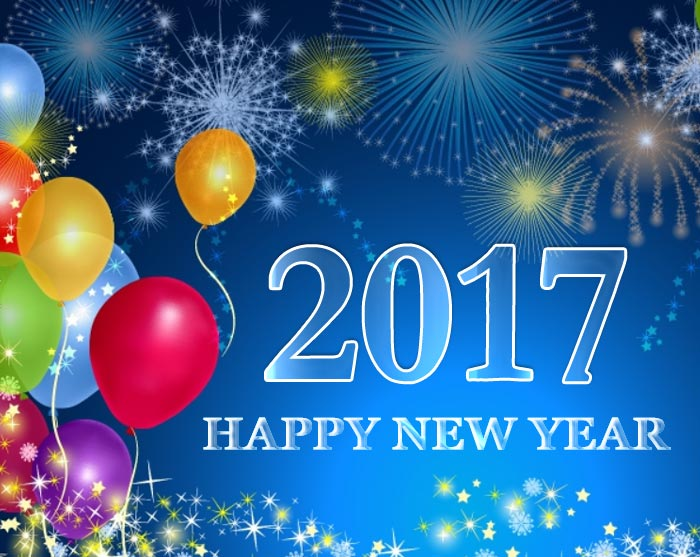 Happy New Year 2017 celebrations with ballons and fireworks