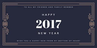 Happy New Year 2017 greeting card with dark blue background