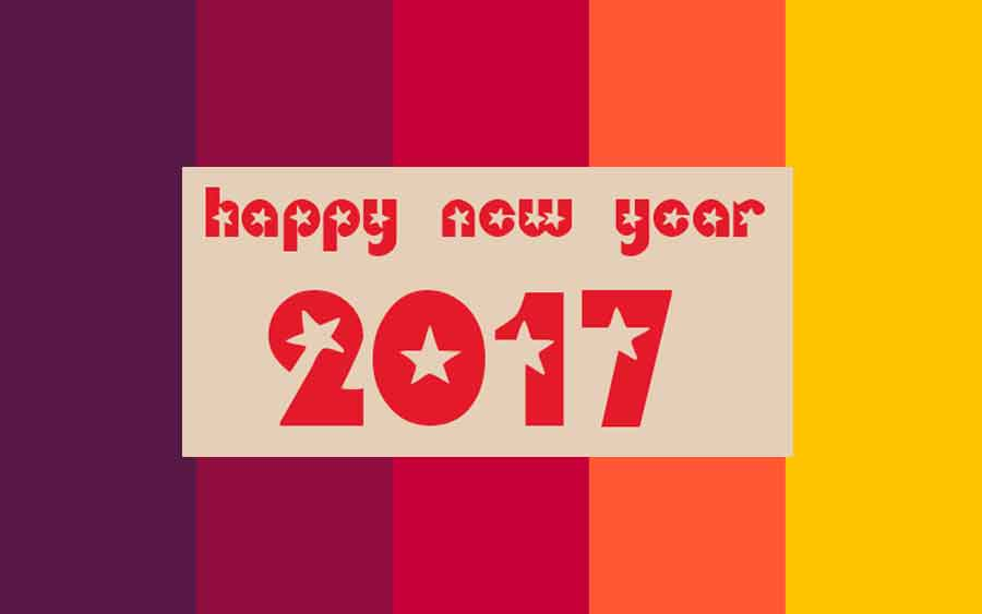 Happy New Year 2017 greeting with multi color background