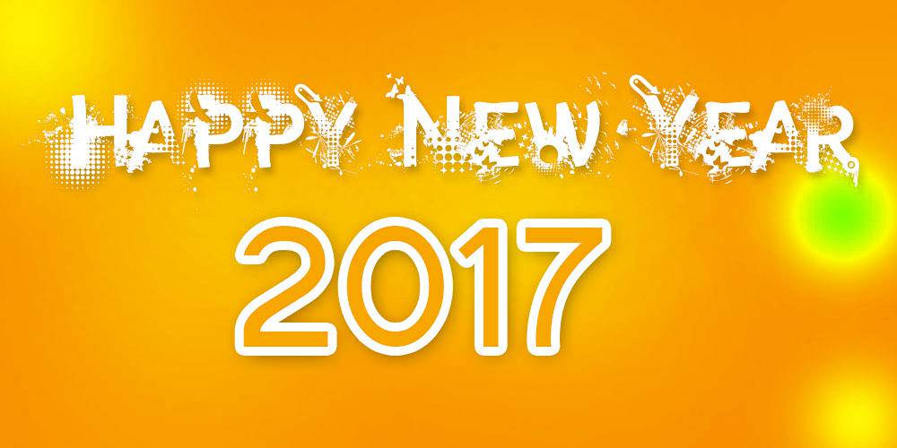 Happy New Year 2017 modern orange background