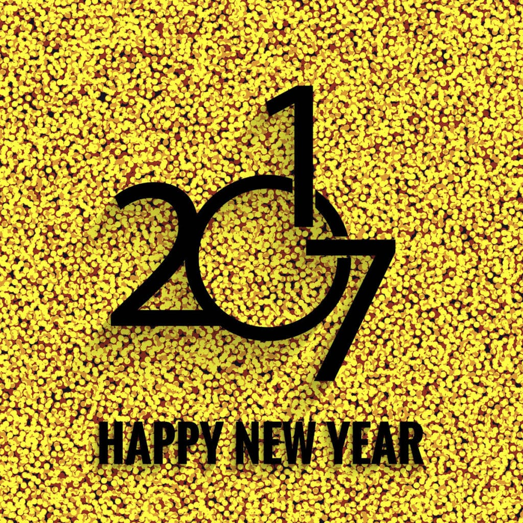 Happy New Year 2017 on a yellow dotted background