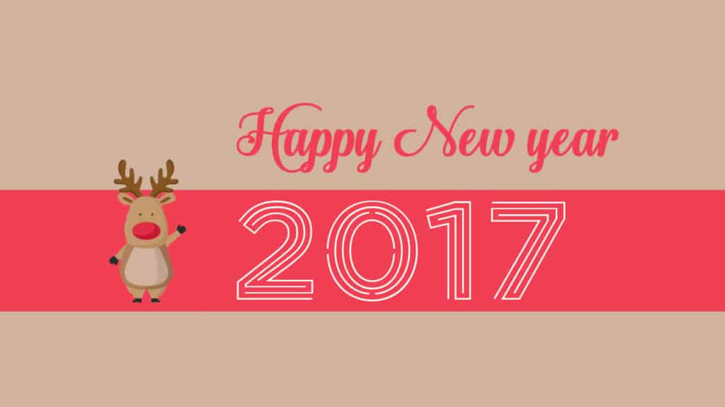 Happy New Year 2017 saying reindeer