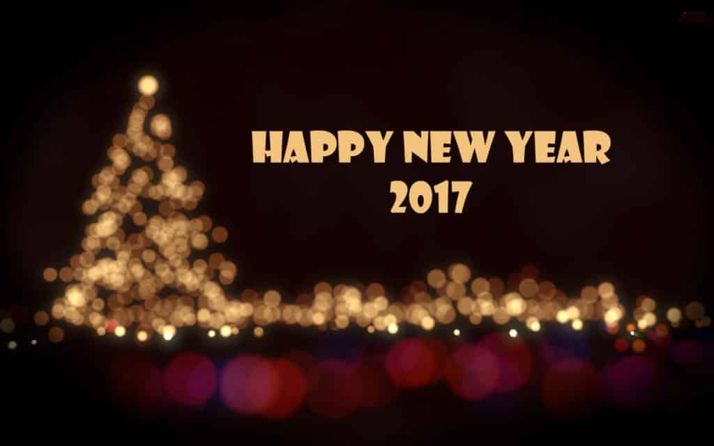 Happy New Year 2017 with Xmas tree background