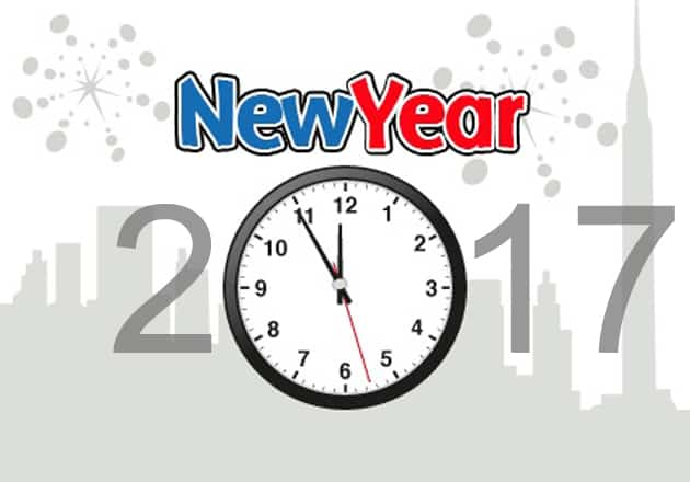 Happy New Year 2017 with a big clock