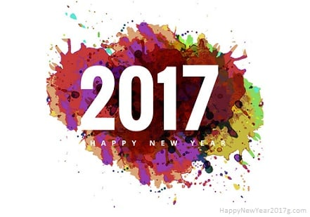Happy New Year 2017 with a colourful background