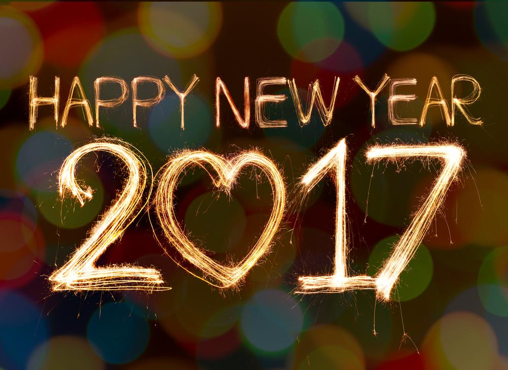 Happy New Year 2017 with a golden spark