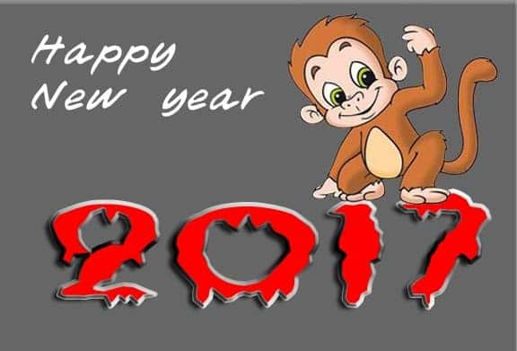 Happy New Year 2017 with a monkey