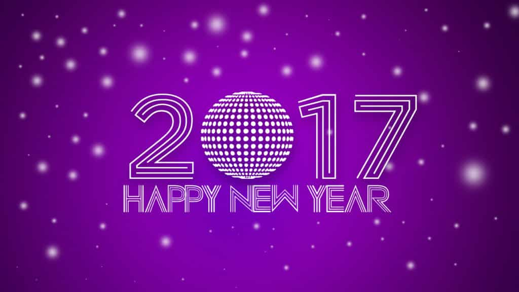 Happy New Year 2017 with a spiral ball and purple background