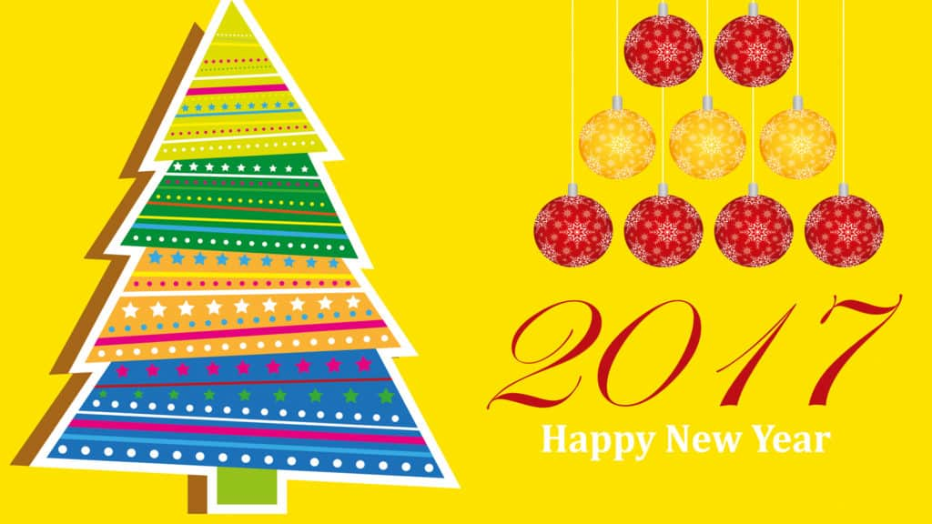 Happy New Year 2017 with a tree and balls on yellow background