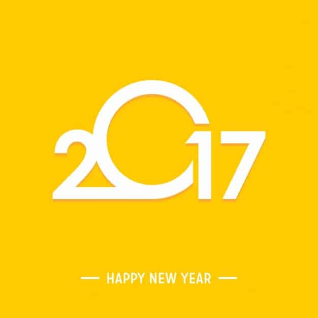 Happy New Year 2017 with a yellow background