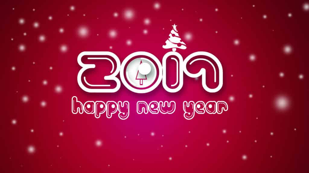 Happy New Year 2017 with aa tree and red background