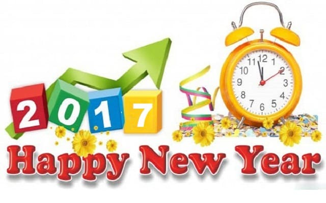 Happy New Year 2017 with alarm clock an and flowers