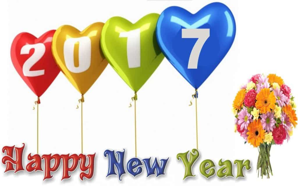 Happy New Year 2017 with ballons and flower