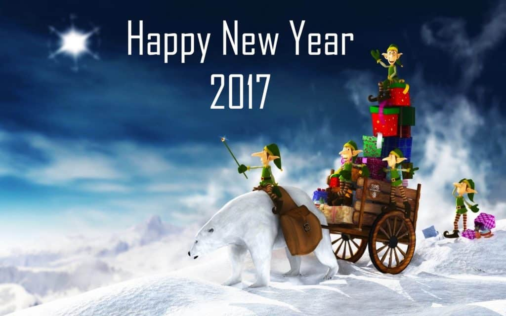 Happy New Year 2017 with bear gifts and clowns