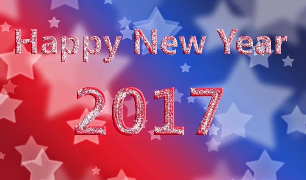 Happy New Year 2017 with blue and red background