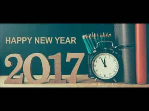 Happy New Year 2017 with books and pencils