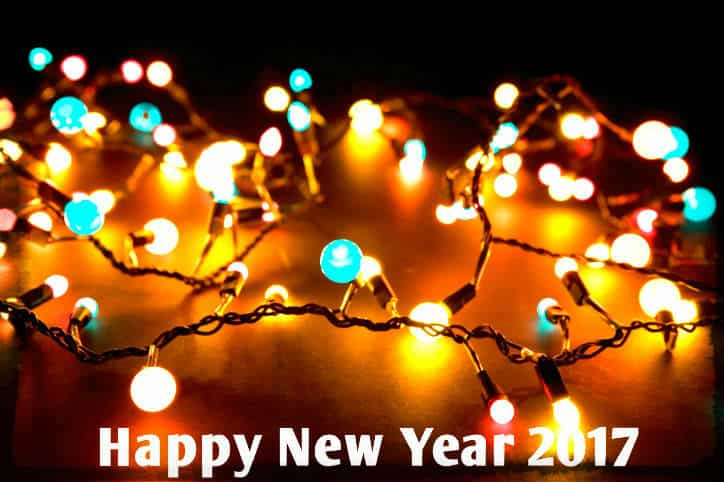 Happy New Year 2017 with bulbs