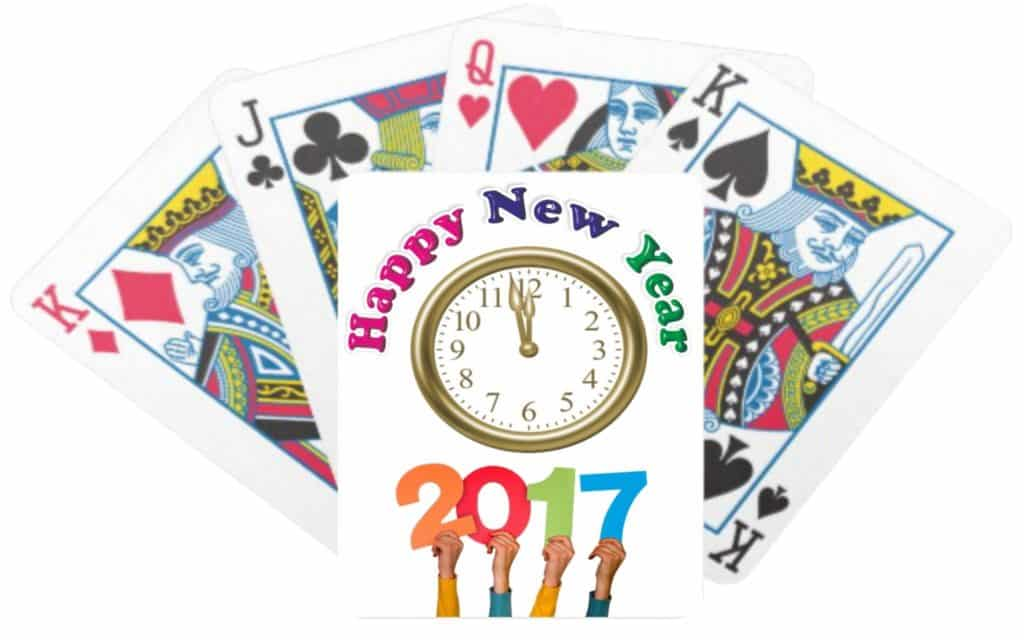 Happy New Year 2017 with cards and clock