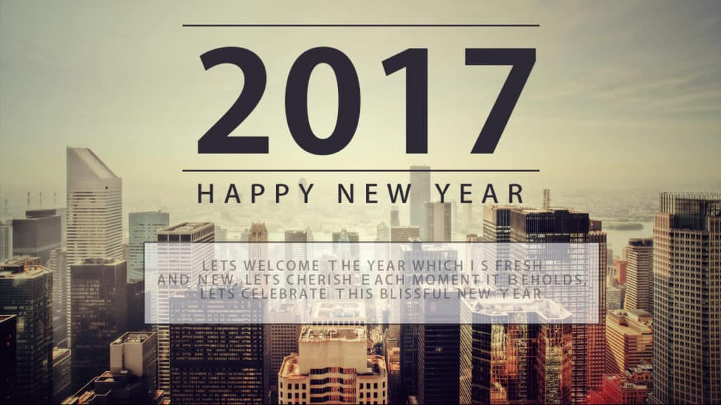 Happy New Year 2017 with city background