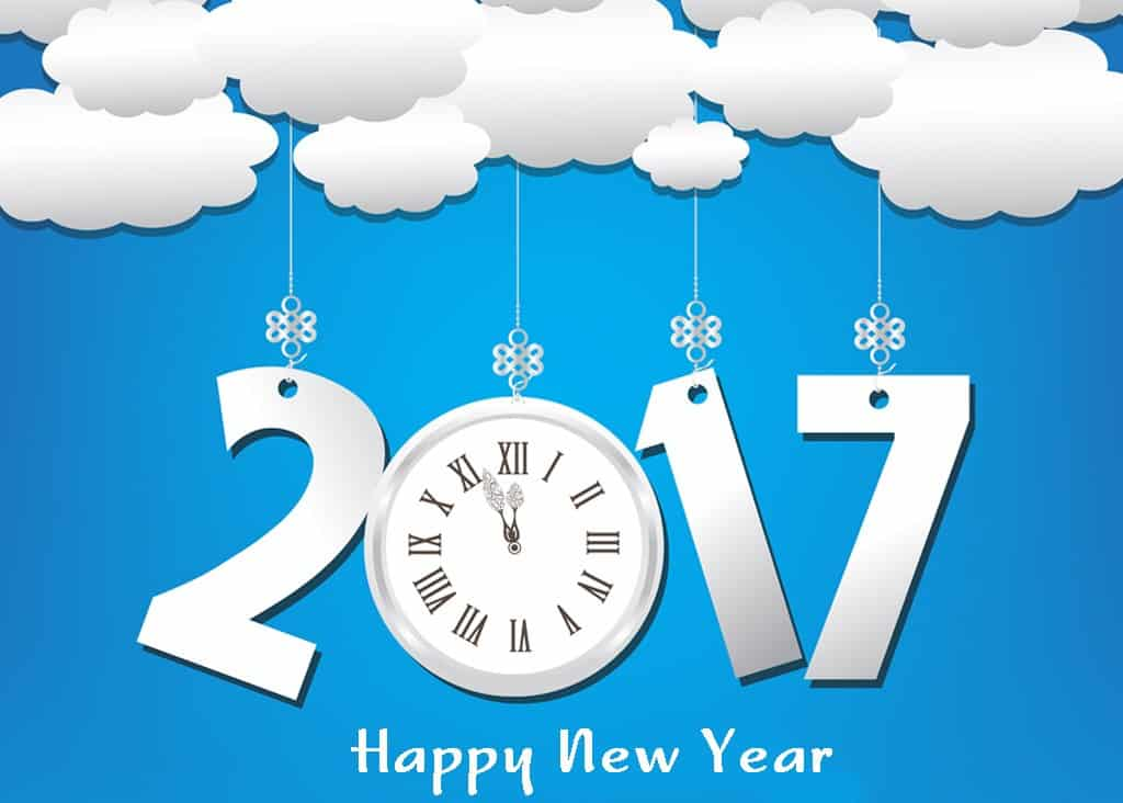 Happy New Year 2017 with cloud and a clock