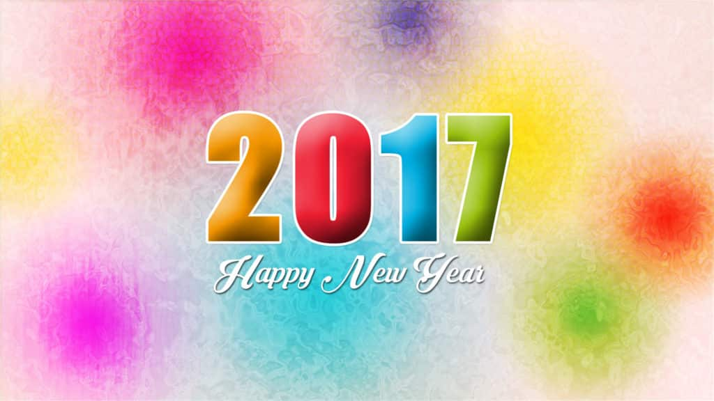Happy New Year 2017 with color blast
