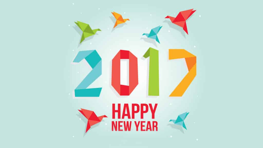 Happy New Year 2017 with colorful birds flying