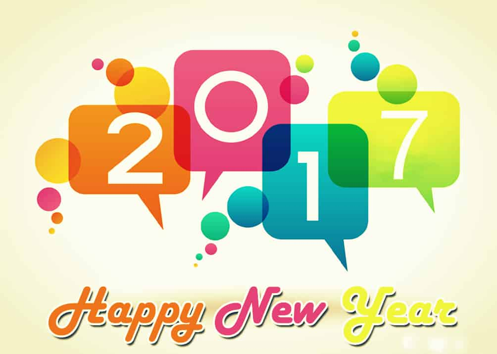 Happy New Year 2017 with colorful pop ups