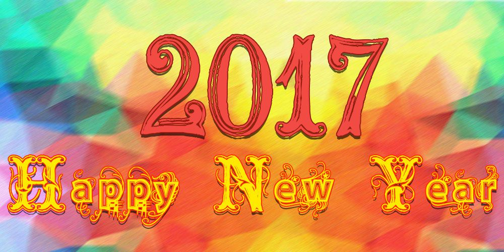 Happy New Year 2017 with cool text and multi color
