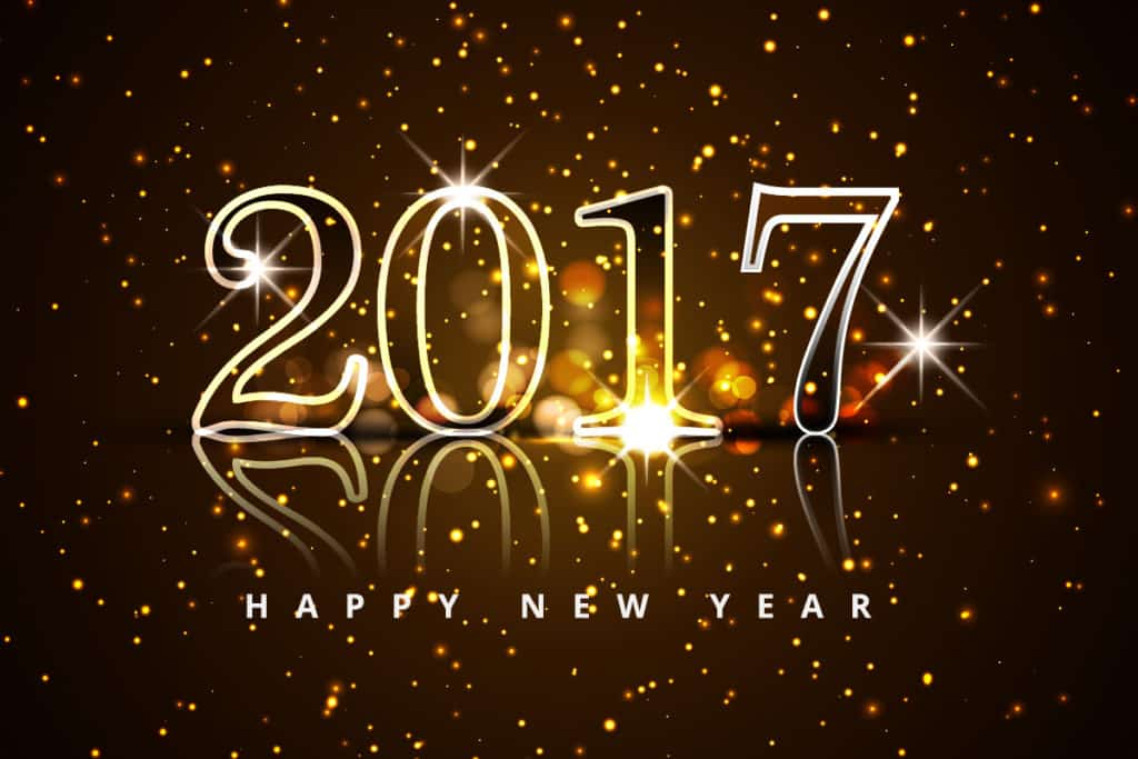 Happy New Year 2017 with crystal spark