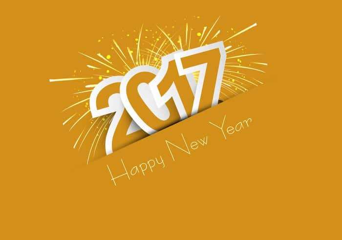Happy New Year 2017 with dark yellow sparkling background