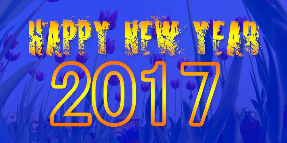 Happy New Year 2017 with flowers background