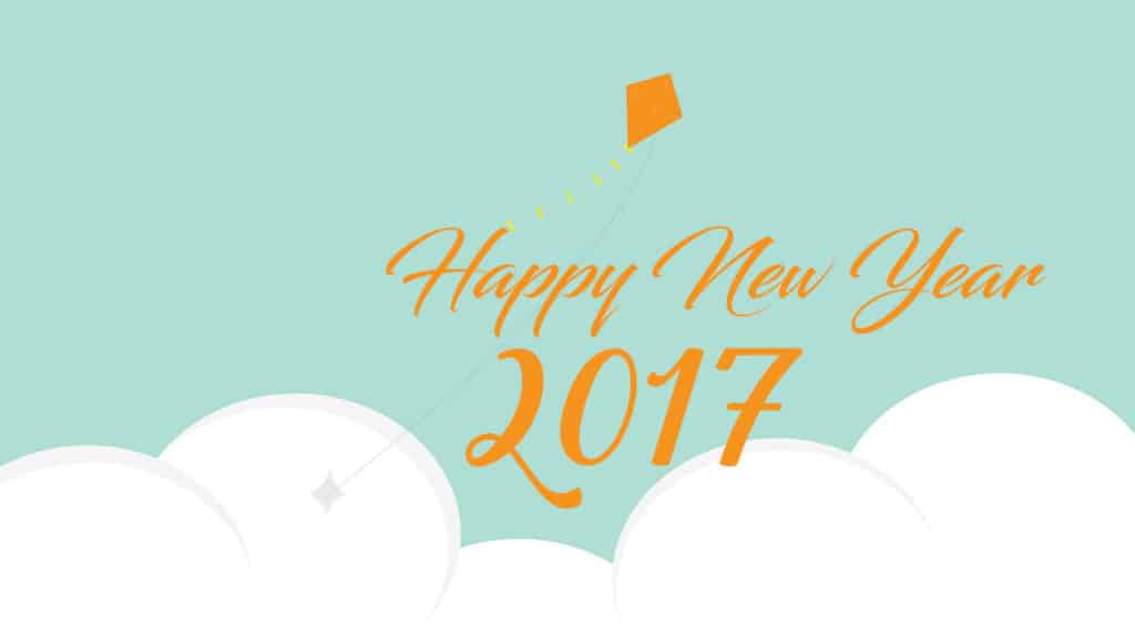 Happy New Year 2017 with flying kite