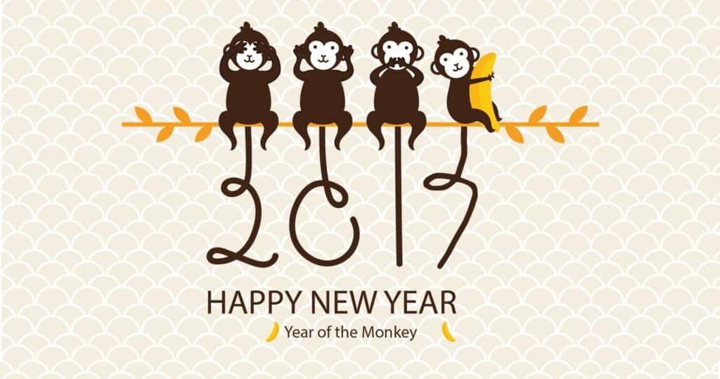 Happy New Year 2017 with four moneys