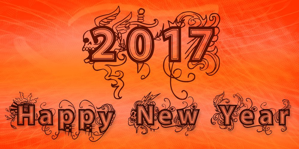 Happy New Year 2017 with orange bakground and skull