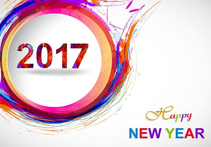 Happy New Year 2017 with paint strokes